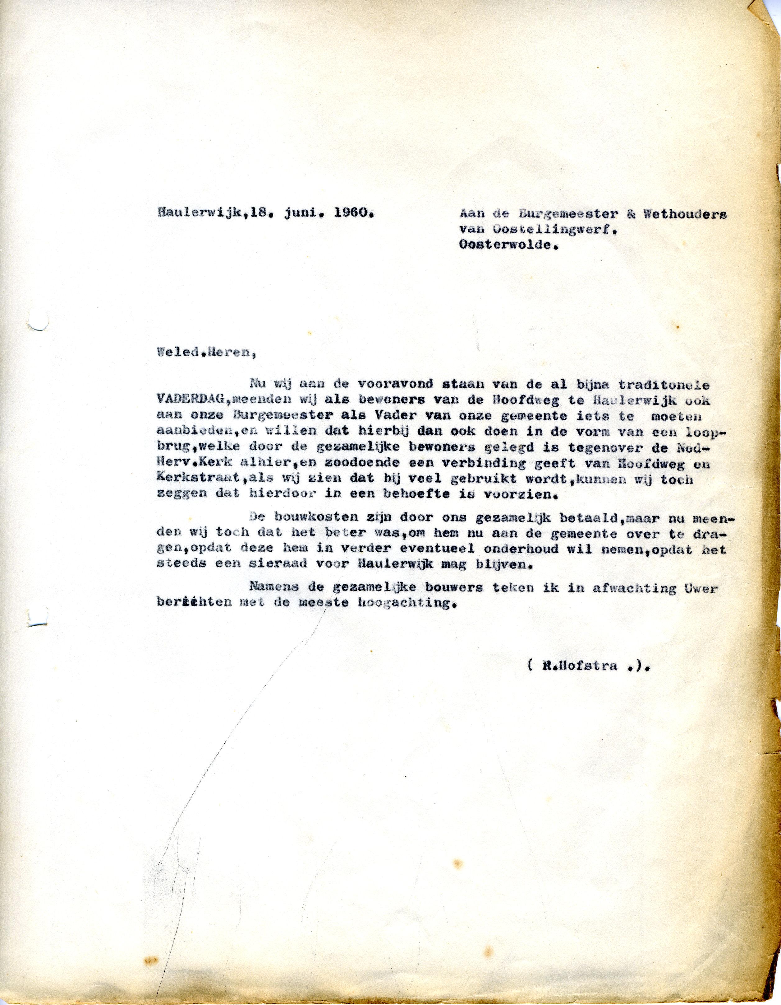 19600618 Brief aan Gem OSW - Overdracht Vaderdagtil