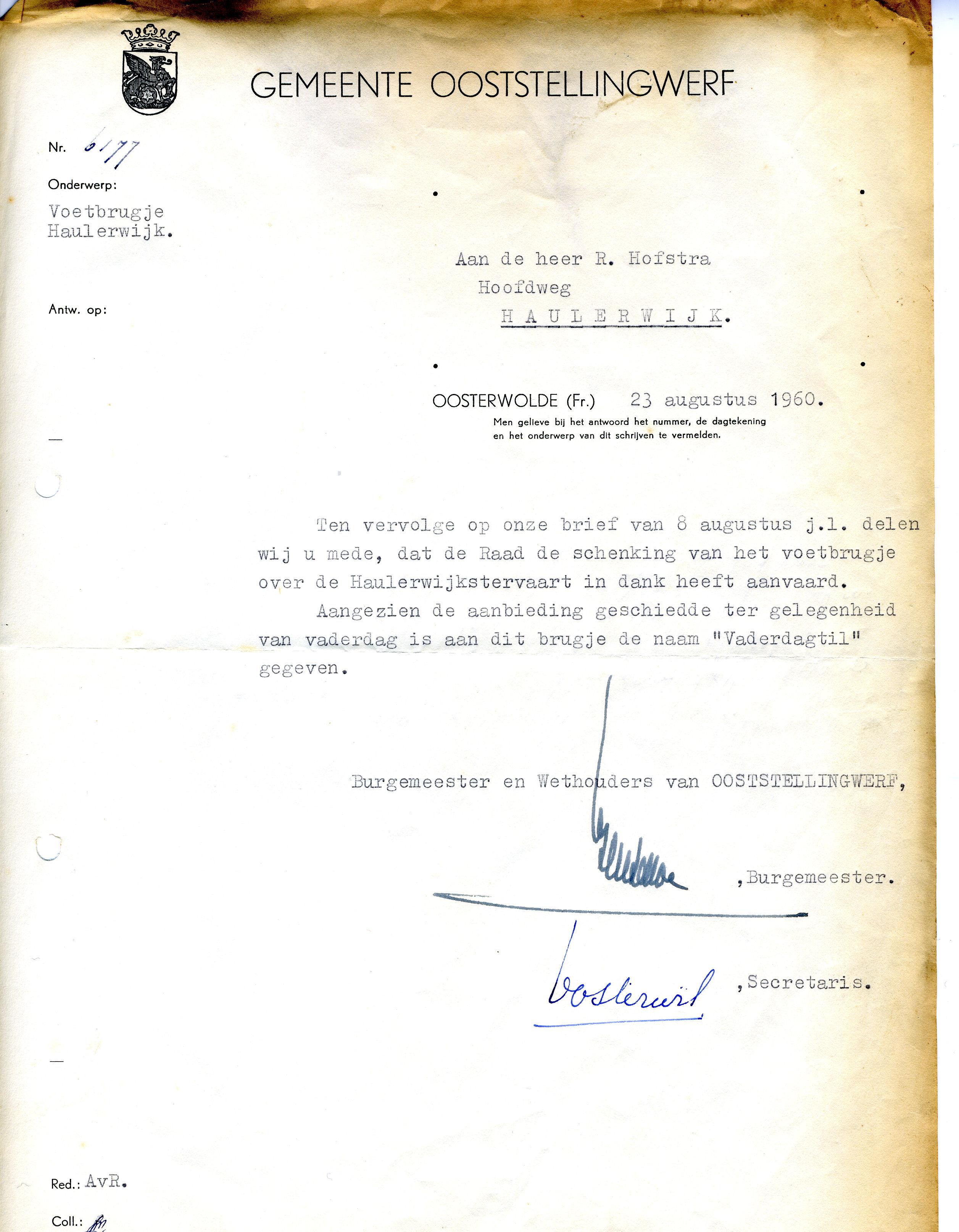19600823 Brief van Gem OSW - Aanvaarding Vaderdagtil