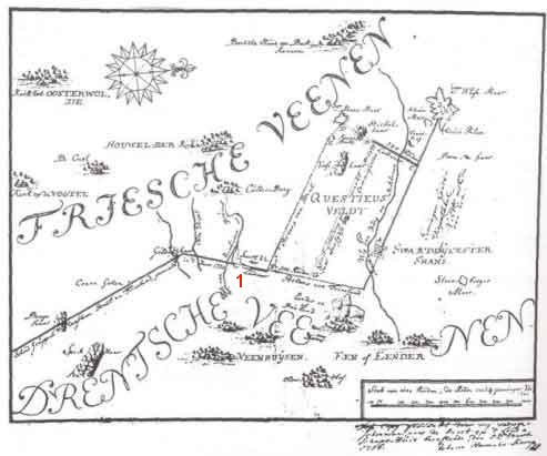 Kaart van landweren omstreeks 1710