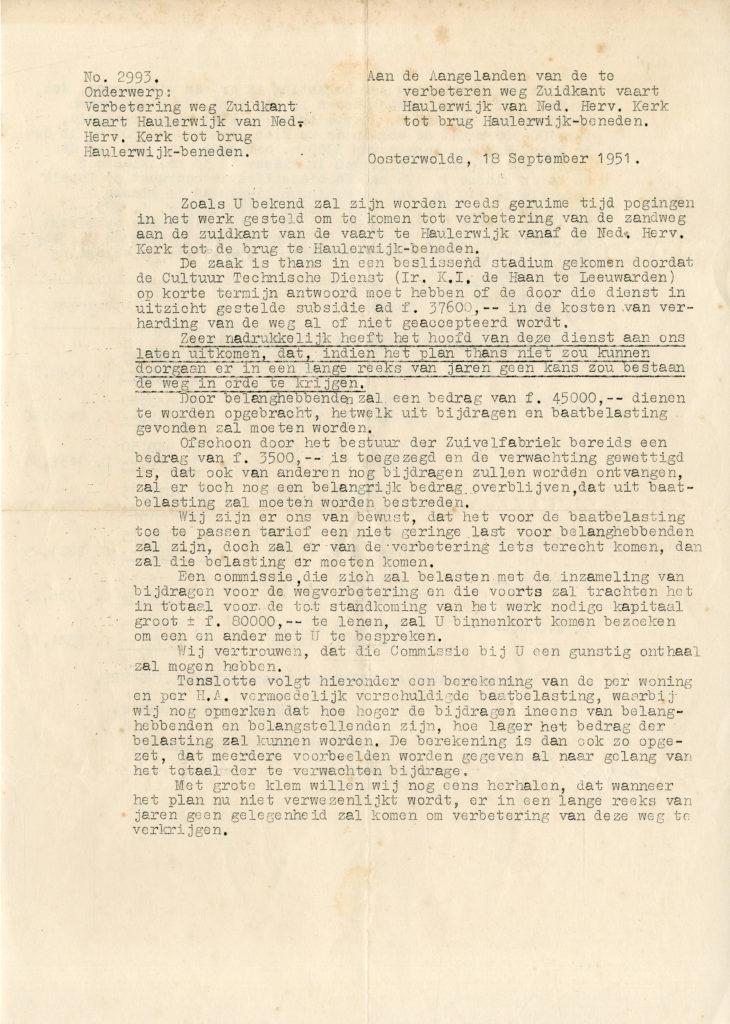 18-09-1951 Verbetering weg zuidkant vaart.